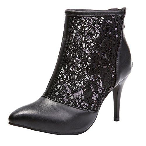 AIYOUMEI Damen Spitz Stiletto High Heels Herbst Stiefeletten mit Spitze Pumps Schuhe Schwarz