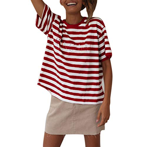GHrcvdhw Summer Ladies Casual Round Neck Short Sleeve Letter Striped Top Knit Fabric T-Shirt Red