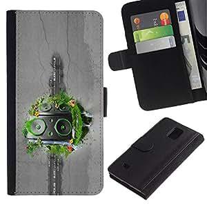 All Phone Most Case / Oferta Especial Cáscara Funda de cuero Monedero Cubierta de proteccion Caso / Wallet Case for Samsung Galaxy Note 4 IV // Abstract Grass Speakers