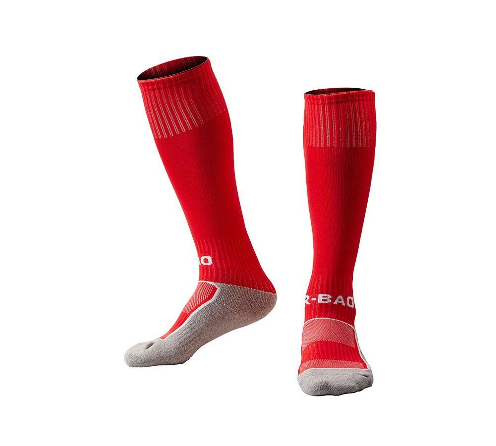 OUAYJI kids Knee High Sport Towel Bottom training compression Soccer Football Socks 1 pairs red by OUYAJI