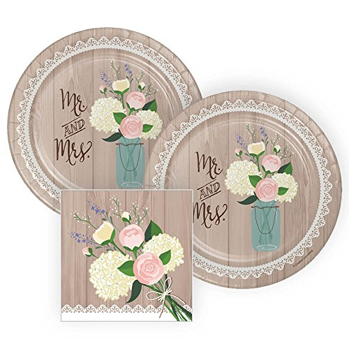 Rustic Wedding Bridal Shower Paper Plates and Napkins, 16 Servings, Bundle: 3 Items