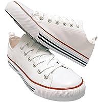 Tienda Pretty Girl Mujer Casual lona Zapatos Solid Colors Low parte superior Lace Up plana zapatillas moda versión 2