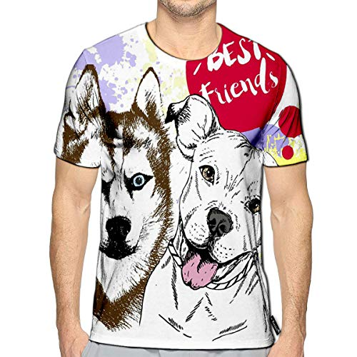 Randell T-Shirt 3D Printed Siberian Huskyr and Pitbull Frienship Color Domestic Dog Ill (Best Diet For Pitbulls)