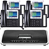 Business Phone System by Grandstream: Ultimate Package Including Auto Attendant, Voicemail, Cell & Remote Phone Extensions, Call Recording & Free Phone Service for 1 Year (4 Phone Bundle)