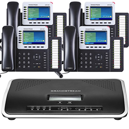 Business Phone System by Grandstream: Ultimate Package Including Auto Attendant, Voicemail, Cell & Remote Phone Extensions, Call Recording & Free Phone Service for 1 Year (4 Phone Bundle) (Best Phones For Business Owners)