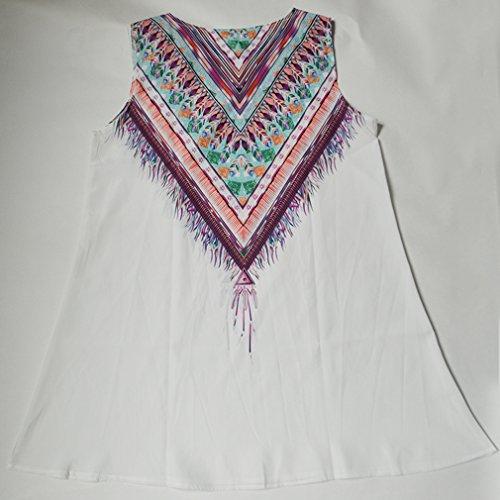 Blanco10 de Cuello Vestido Redondo la la Verano Mangas Honghu del Impresión las Vendimia Sin de Mujeres de a0xgIUn