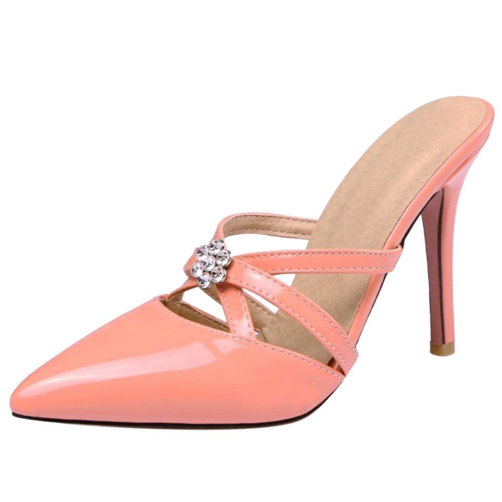 JOJONUNU Damen Pointed Toe Mary Jane Pumps High Heel Apricot Size 35 Asian 6Ee89nr