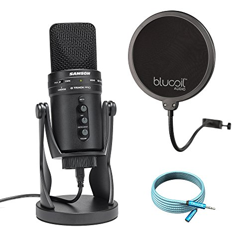 Samson G-Track Pro USB Microphone with Audio Interface Mute Volume Control BUNDLED WITH Blucoil Pop Filter AND 6​-Ft Extension ()