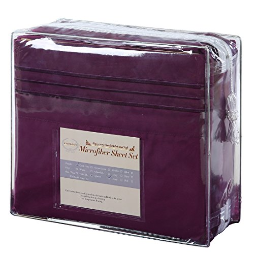 EASELAND 6 Pieces 1800 Thread Count sheet Pillowcase Sets