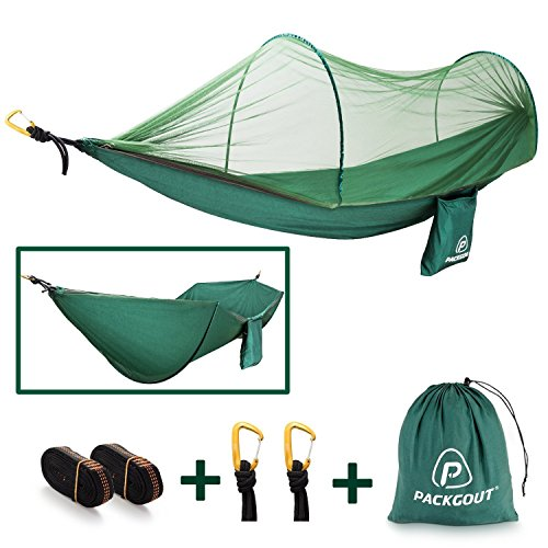 PACKGOUT PCACKGOUT Mosquito Hammock, Net Camping Gear Camping Hammock with Mosquito Lightweight Portable Hammock Sleeping Hammock for Travel Hiking Outdoor