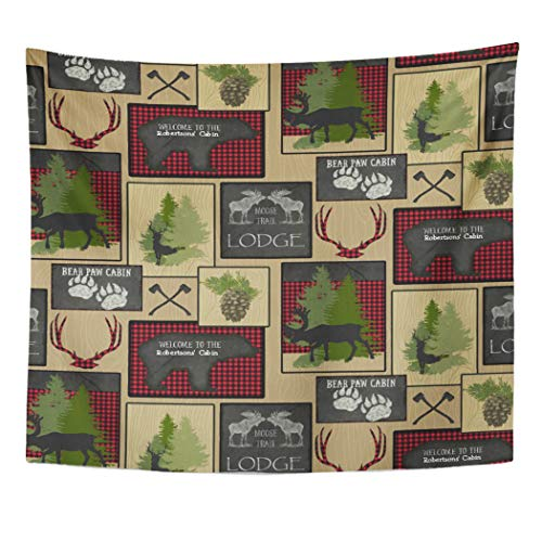 Semtomn Tapestry Artwork Wall Hanging Axe Lumberjack Mountain Bear Cabin Personalized Buffalo Plaid Silhouette 50x60 Inches Tapestries Mattress Tablecloth Curtain Home Decor Print