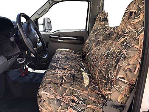RealSeatCovers for Front Solid Bench Thick F23 Molded Headrest Belt Cutout Exact Fit Seat Cover for Ford F150 F250 F350 F450 F550 F-Series 1992-2010 (Muddy Water - Covers Headrest Truck