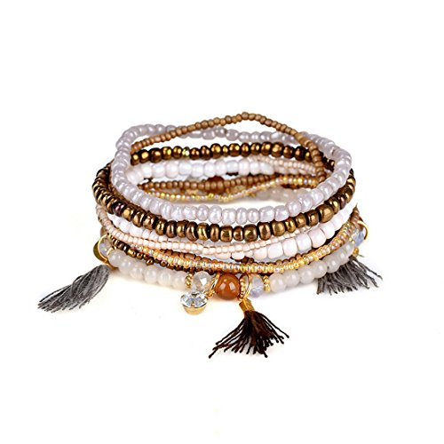 Bohemian Crystal Colorful Stretch Bead Multilayer Bracelets for Women of MengPa (Gold)