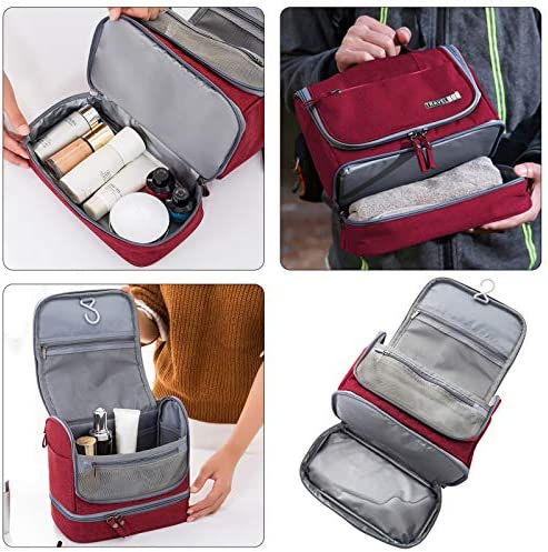 Jereture Toiletry Bag, Upgraded Hanging Travel Toiletry Organizer Kit with Dry and wet separate towel pockets, Waterproof Cosmetic Bag Bathroom Shower Storage Bag Dop Kit for Travel (Wine red)