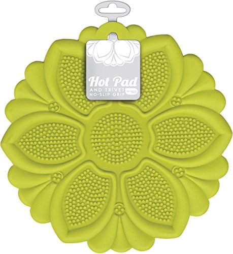 Slip Grip Hot Pad, Green, Pot Holder, Spoon Rest, Jar Opener and Trivet, BPA-free Silicone ()