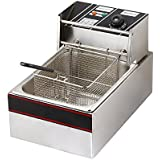 Flexzion Electric Deep Fryer Tank 2500W 6L Liter Countertop Basket Stainless Steel French Fry for Commercial Restaurant Kitchen Built in Timers & Adjustable Temperature