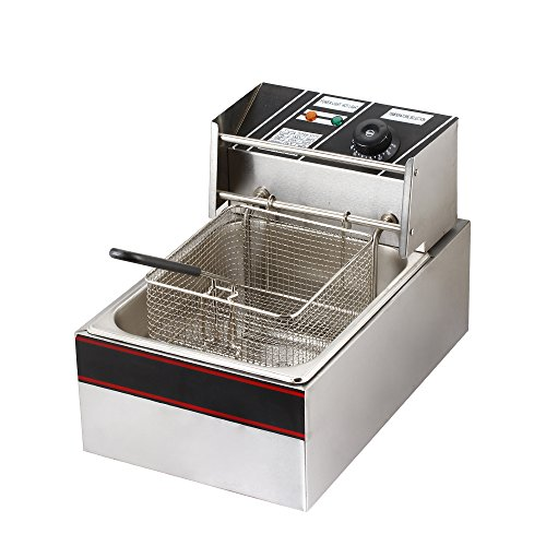 Flexzion Electric Deep Fryer Tank 1700W 6L Liter Countertop Basket Stainless Steel French Fry for Commercial Restaurant Home Kitchen & Adjustable Temperature