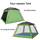 HEWOLF 5-8 Person Camping Tent, Large Cabin Tents for Camping Hiking Beach Travel Outdoor Family Tent Double Layer Waterproof Sunproof 4 Season(One Zipper Door and Two Windows)