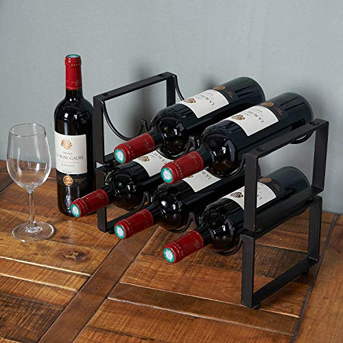 2 Tier Stackable Wine Rack, in Tabletop Wine Racks Countertop Cabinet Wine Holder Storage Stand – Hold 6 Bottles, Metal Rack Metal Racks Wine Holder Storage Organizer for Home,Bar
