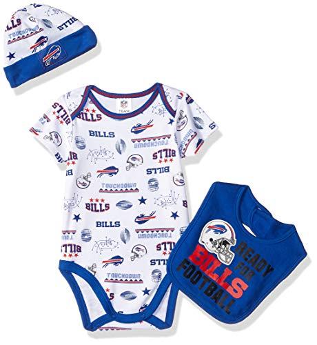 NFL Buffalo Bills Unisex-Baby Bodysuit, Bib & Cap Set, Blue, 3-6 Months