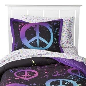 Amazon Com Black Purple Pink Green Peace Sign Full