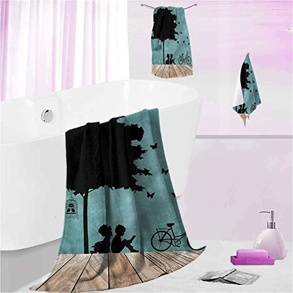 DayDayFun Beach Towel Kids Luxury Towels Bathroom Sets Boy and Girl Under a Tree S - Contain 1 Bath Towel 1 Hand Towel 1 Washcloth