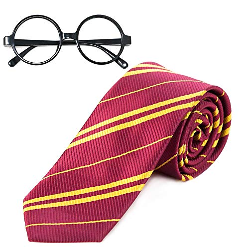 Easy Harry Potter Costumes - Striped Tie with Novelty Glasses Frame for Cosplay Party Costume Necktie Accessories