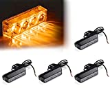 Xprite Amber Yellow 4 LED 4 Watt Emergency Vehicle Waterproof Surface Mount Deck Dash Grille Strobe Light Warning Police Light Head with Clear Lens - 4 Pack