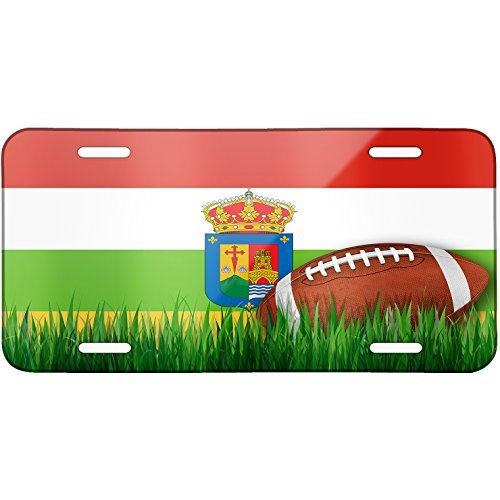 Football with Flag La Rioja region Spain Metal License Plate 6X12 Inch by Saniwa
