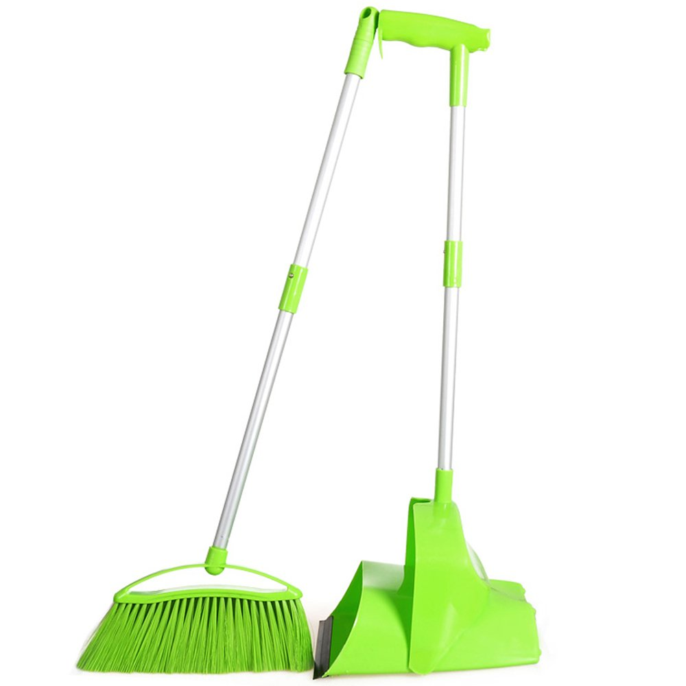 Indoor Handled Cleaning Tool,Broom and Dustpan Set,Green