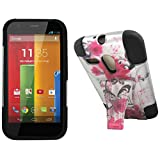 Maxtron Rugged Hybrid Hard T-Stand Dual Armor Case with Screen Proctor for Motorola Moto G XT1032 - Retail Packaging - Pink Lily