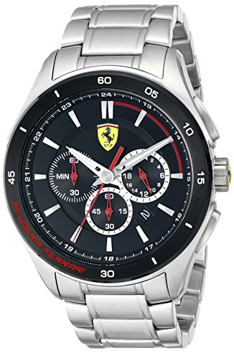 Price comparison product image Ferrari Men's 0830188 Gran Premio Analog Display Quartz Silver-ToneWatch