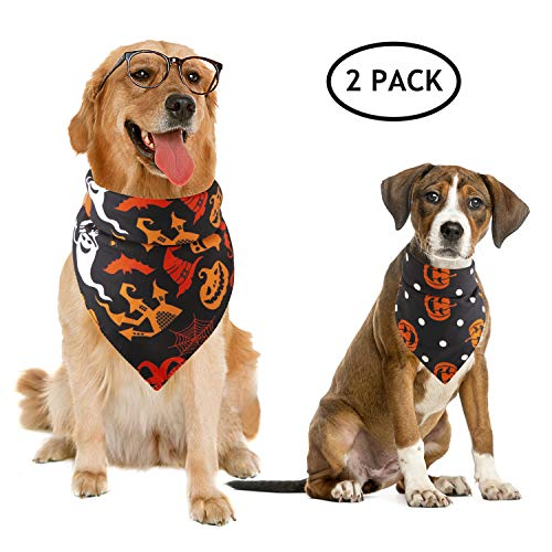 Dog Halloween Ideas (BWOGUE 2 Pack Halloween Dog Bandanas Pet Black Halloween Pumpkin Wizard Pattern Triangle Scarf Accessories for Small to Large Dogs Halloween)