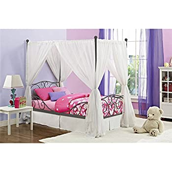Canopy Twin Metal Bed Girls Frame Princess Bedroom Furniture White Carriage  Size Pink Kids Girl Heart scroll design, Multiple Colors with Heart scroll  ...
