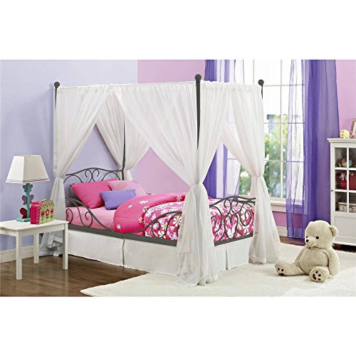 Canopy Twin Metal Bed Girls Frame Princess Bedroom Furniture White Carriage Size Pink Kids Girl Heart scroll design, Multiple Colors with Heart scroll design and Dimensions: 77.5''L x 41.5''W x 71.5''H by DHPG