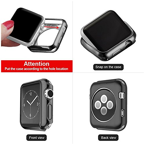 GerTong Apple Watch Case 42mm Slim Soft TPU Full Cover Case for Apple Watch Series 3/2/1/Nike+ Sport Edition 42mm (Black) by GerTong (Image #3)