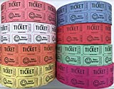 The Ticket Gurus Double Smile Raffle tickets-2000 Double Tickets/roll ((4) Random Colors)