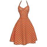 HOSOCHRIS Women Summer Printed Sleeveless Polka dot Halter Evening Party Prom Swing Dress Vintage O-Neck Dress (Orange, S)