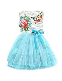 JELEUON Kids Baby Toddler Girls Flower Printed Lace Princess Dress Sundress