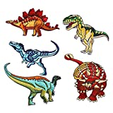 5Pcs Jurassic Dinosaur Shape Embroidered Decorative Appliques Iron On Patches for Kids Jeans Decoration, Clothing Repair