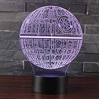 Doremy 3D Illusion LED Night Light Table Desk Lamp 7 Colors Gradual Changing Touch with USB Cable for Home Decoration or Children's Gifts (Death Star DS-1 Platform)
