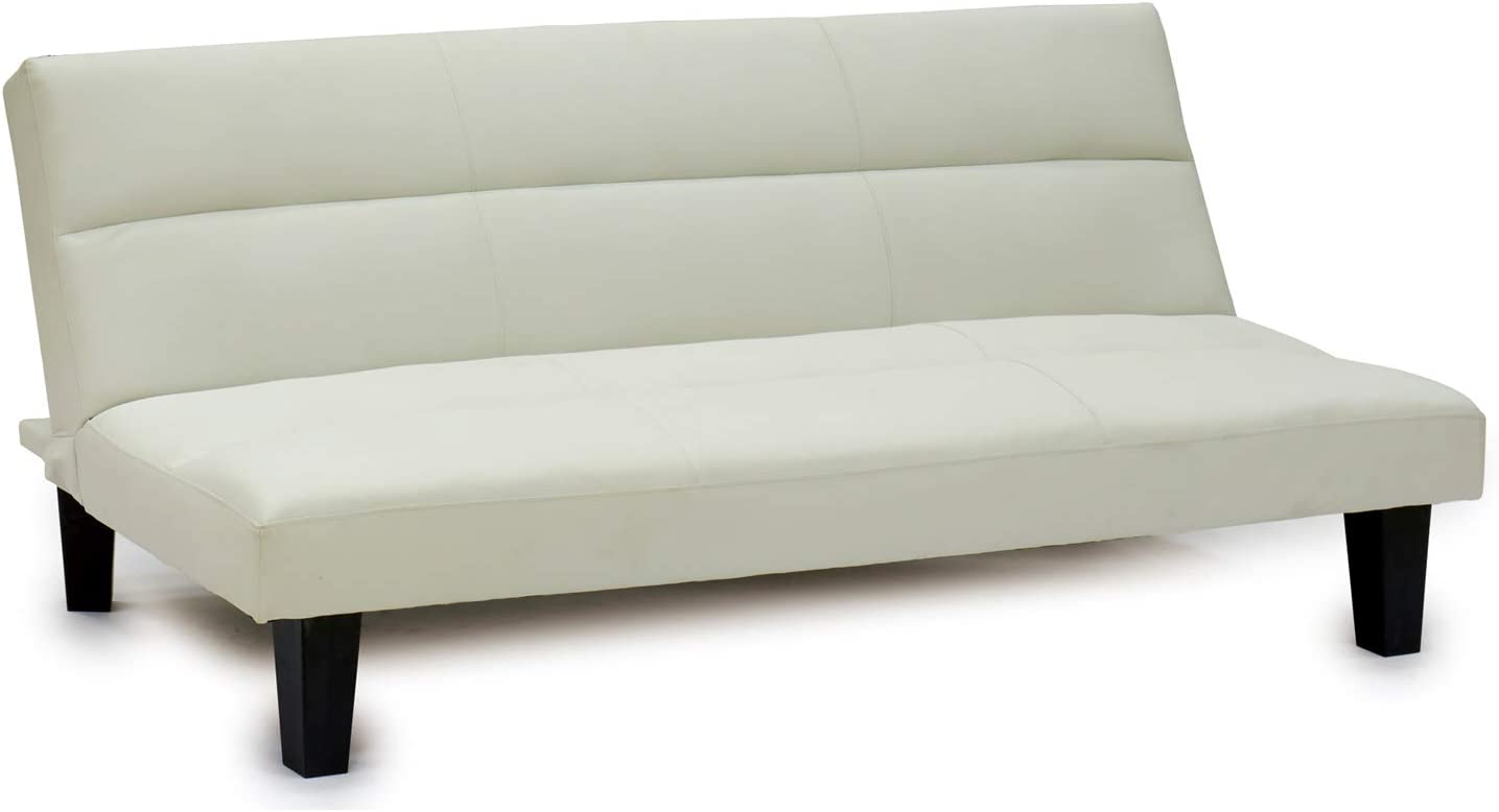 TU TENDENCIA ÚNICA Sofá Cama con 3 Plazas Abatible Fabricado en Cuero Sintético. Sistema de Apertura de Libro (Blanco)