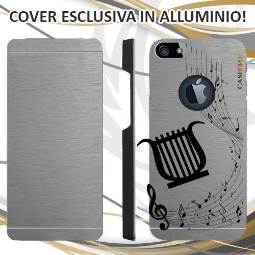 CUSTODIA COVER CASE LIRA MUSICA NOTA PER IPHONE 5 ALLUMINIO TRASPARENTE