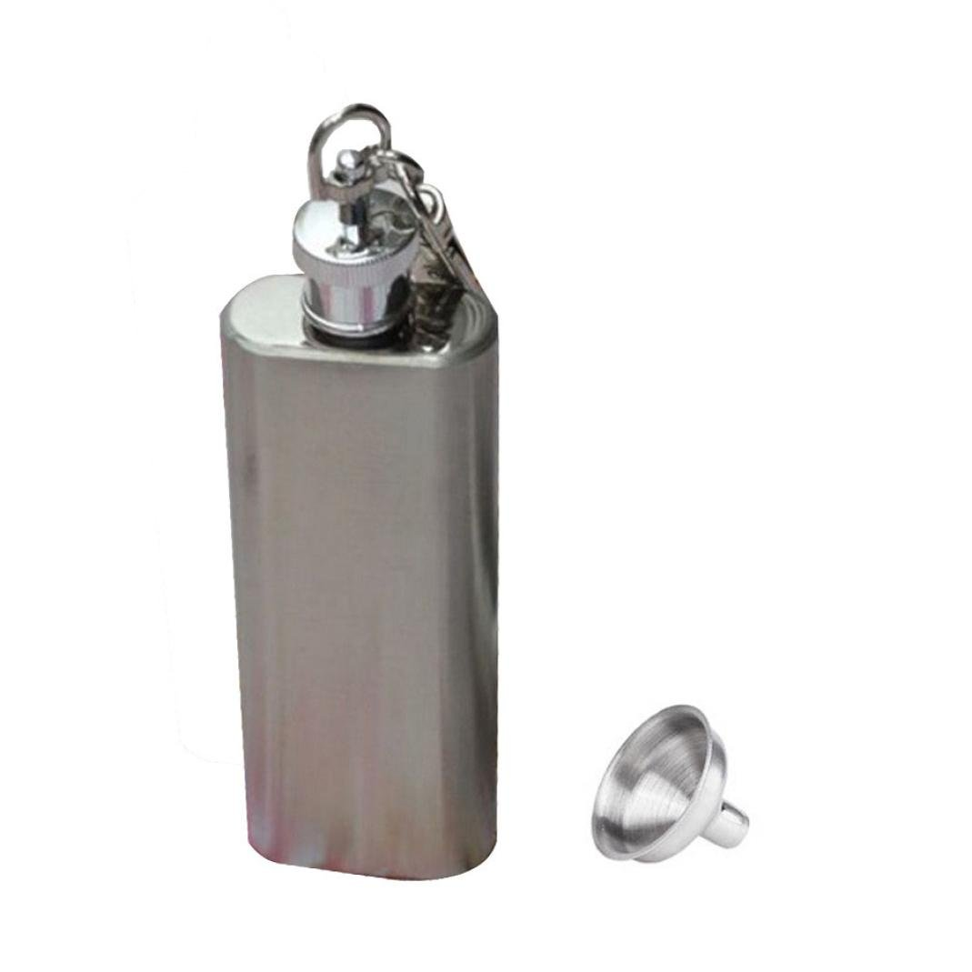 AIMTOPPY 2oz Mini Stainless Steel Hip Flask Alcohol Flagon with Keychain Funnel (2 ounces, Silver)