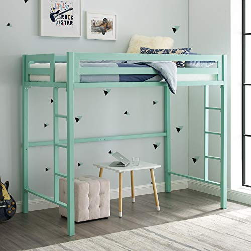 Home Accent Furnishings New Premium Deluxe Twin Metal Loft Bed in Mint Color