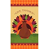 Turkey Dinner Thanksgiving Guest Paper Towels Party Tableware, 4'' x 7'' Pack of 16