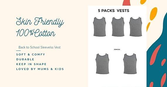 12 Boys Vest 100/% SOFT COTTON VESTS 2 3 4 5 6 7 8 9 10 11 12 13 YRS