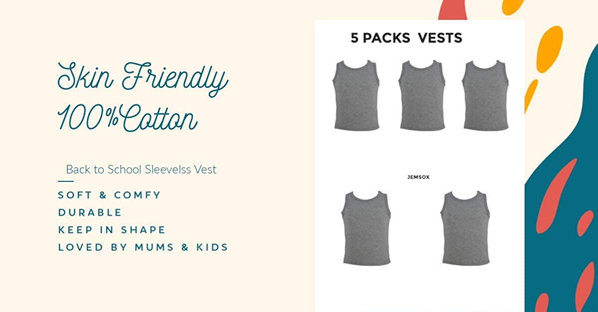 10 Pack of Baby Boys 100/% Cotton Vests Grey