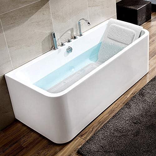 Non-Slip Spa Bath Tub Mat w// Pillow for Neck Ivory /& Shoulder Support Back