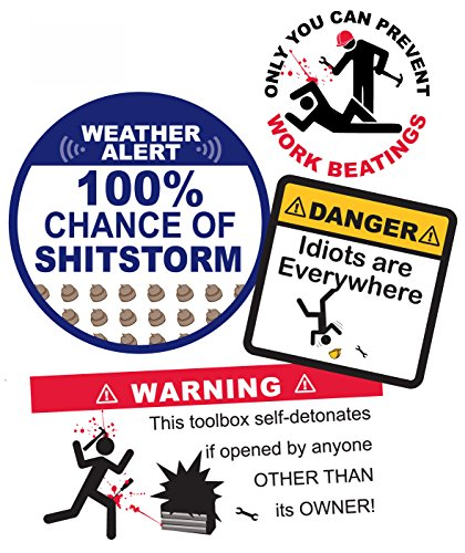 Funny Warning Toolbox Sticker Decals Pack Waterproof Vinyl White Elephant Gift, Gag for Mechanic, Plumber, Guys Men Add a Laugh to Tools, Hard Hat, Shop, Garage, Decal Sticker Set of 4